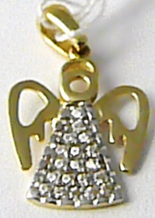 Zlatý andělíček - zlatý přívěsek posetý zirkony 19 ks 585/0,87 gr H454