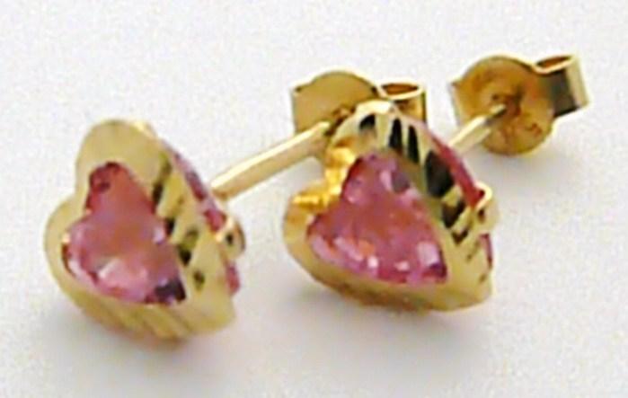 Zlaté dámské srdíčkové pecičky - s růžovými zirkony pecičky 585/1,20 gr P433