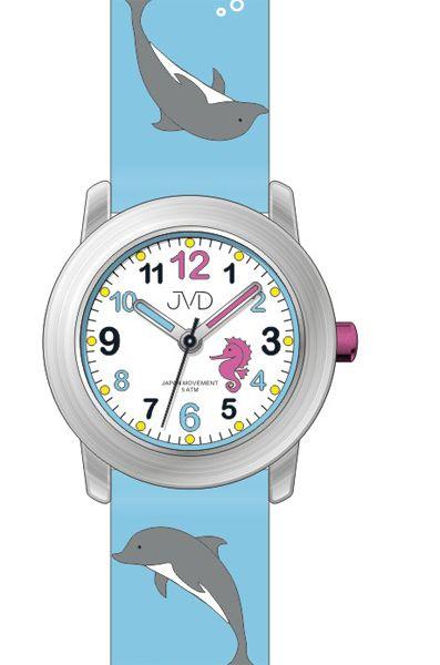 Dětské modré hodinky JVD J7159.2 s motivem DELFÍNA pro kluky a holky