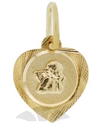 Zlatý přívěsek, medailon anděl, žluté zlato s andělíčkem 585/0,67gr 2320199 (2320199 - POŠTOVNÉ ZDARMA)