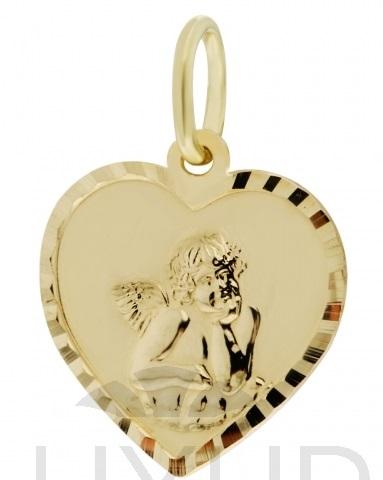 Zlatý přívěsek, medailon anděl, žluté zlato s andělíčkem 2320118 (2320118)