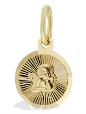 Zlatý přívěsek, medailon anděl, žluté zlato s andělíčkem 2320217 P516 (2320217)