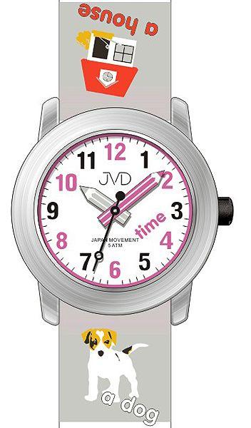 Dětské hodinky JVD J7163.1 s pejskem a malým tahákem angličtiny pro malé školáky