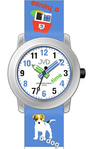 Dětské hodinky JVD J7163.2 s pejskem a malým tahákem angličtiny pro malé školáky