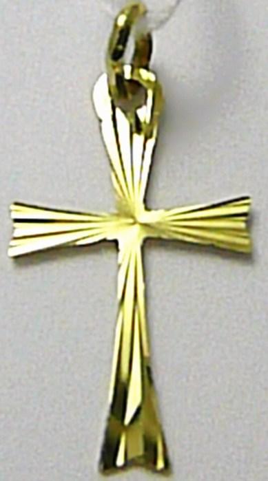 Zlatý křížek s gravírováním - zlatý přívěsek 24mm x 13mm 585/0,45gr T171