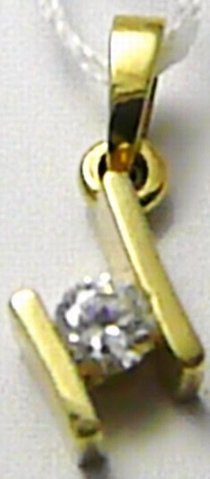 Hezký levný dámský zlatý přívěsek se zirkonem 585/0,85 gr T173