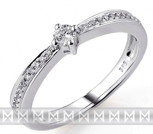 Zásnubní prsten s diamantem, bílé zlato brilianty 3860436-0-51-99 585/2,3gr (3860436-0-51-99)