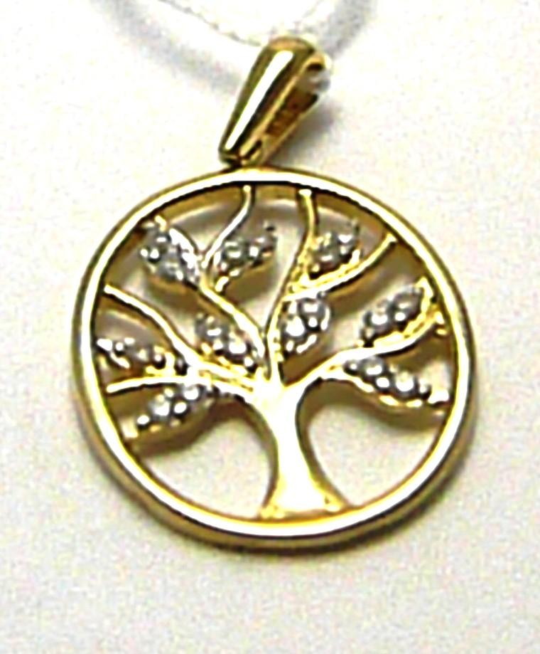Zlatý přívěsek - strom života posetý zirkony 18 ks v oválku 585/1,44gr H491