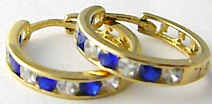 Dámské velké zlaté kruhy s modrými safíry a zirkony 585/2,08 gr H511