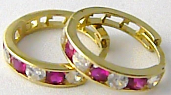 Dámské velké zlaté kruhy s rubíny a zirkony 585/1,35 gr H514