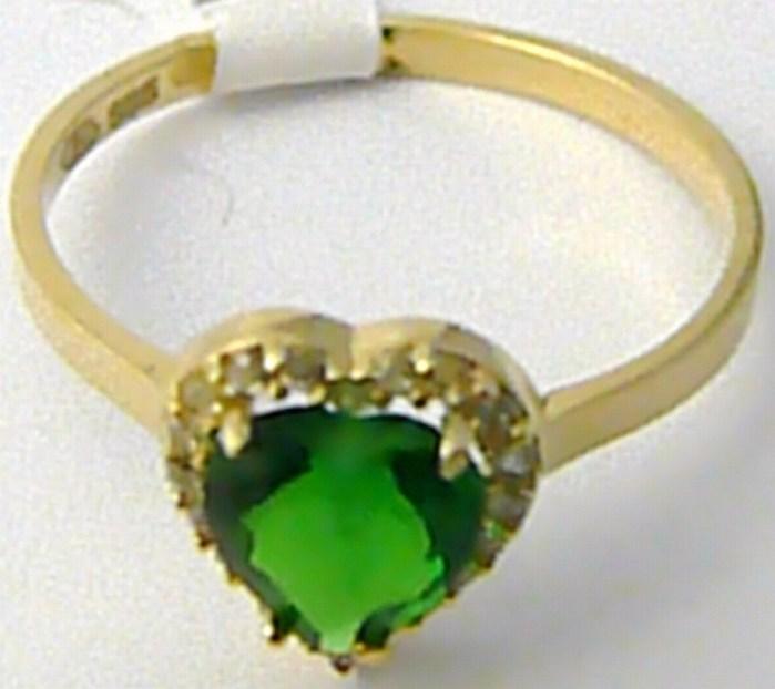 Velký zásnubní prsten s mohutným zeleným smaragdem SRDCE 585/1,63gr vel. 55 H536
