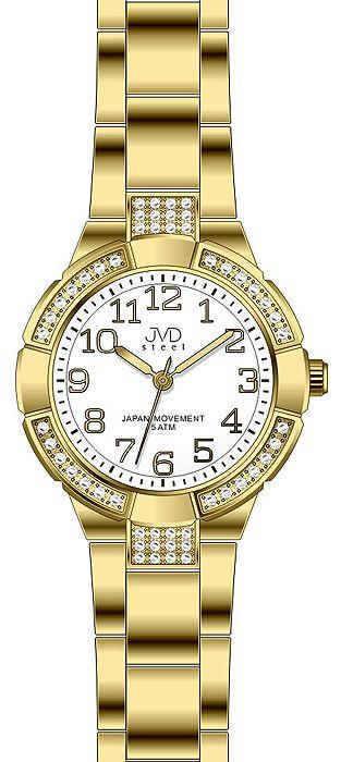 Dámské voděodolné ocelové zlaté hodinky JVD J4083.3 - 5ATM