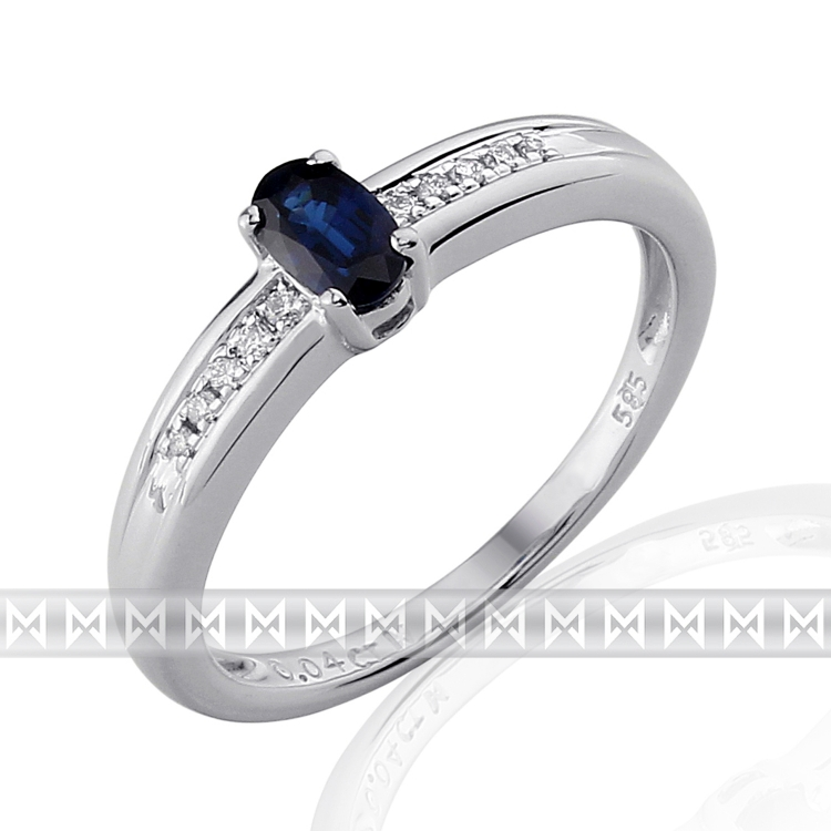 Luxusní prsten s diamanty a modrým přírodním safírem 3861143 585/2,6gr (3861143-0-56-92)