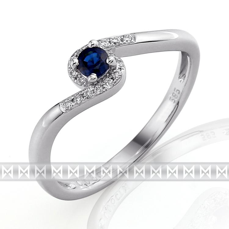 Luxusní prsten s diamanty a modrým přírodním safírem 3861128 585/1,85gr (3861128-0-52-92)