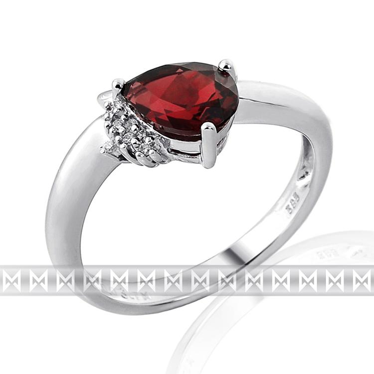 Luxusní prsten s diamanty a rudým přrodním granátem 3860516 585/2,60gr