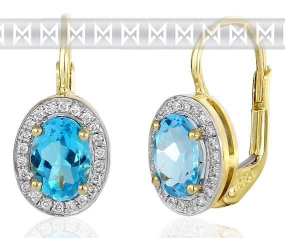 Diamantové náušnice s brilianty a velkými modrými blue topazy 3830140