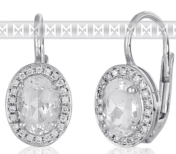 Diamantové náušnice s brilianty a velkými bílými vzánými blue topazy 3880137