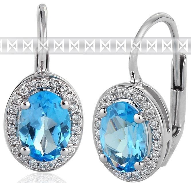 Diamantové náušnice s brilianty a velkými modrými blue topazy bílé zlato 3880138