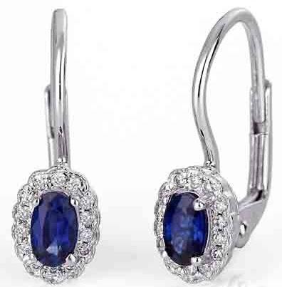 Diamantové náušnice s pravými diamanty a přírodními modrými safíry 3880447