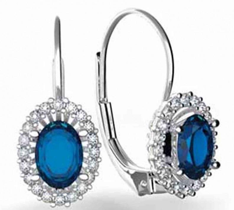 Diamantové náušnice s pravými diamanty a přírodními modrými safíry 3880120