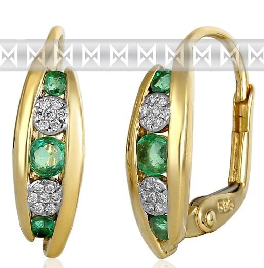 Luxusní zlaté náušnice s diamanty a přírodními pravými smaragdy 3831045