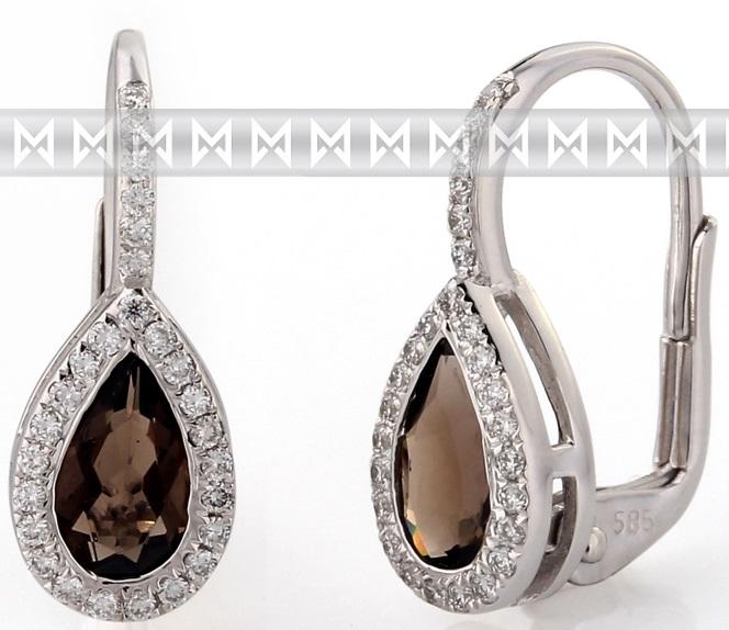 Diamantové zlaté náušnice s přírodními kameny (záhněda - smoky quartz) 3880806) (3880806-0-0-88)
