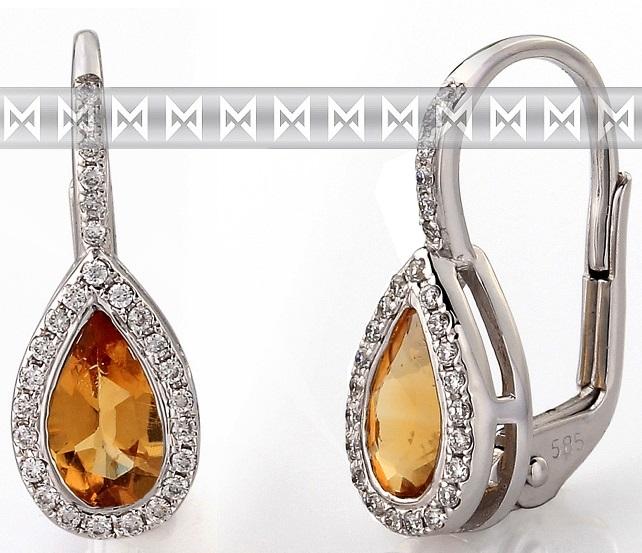 Diamantové zlaté náušnice s přírodními kameny (citríny a brilianty) 3880804 (3880804-0-0-80)