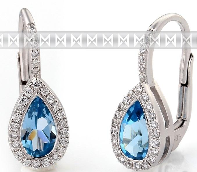 Diamantové zlaté náušnice s přírodními modrými topazy BLUE TOPAZ 3880798