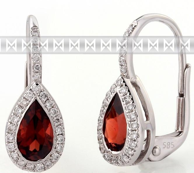 Diamantové zlaté náušnice s přírodními kameny (sytě rudý pravý granát) 3880802 (3880802-0-0-81)