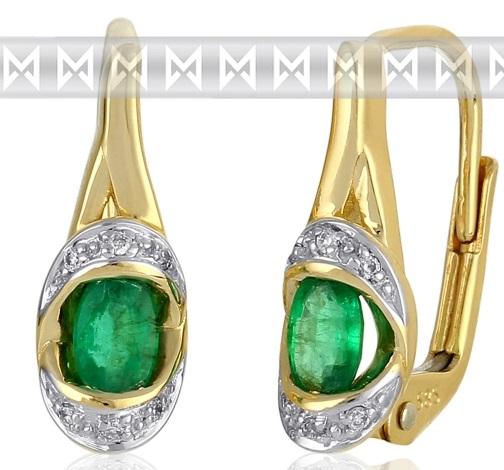 Diamantové zlaté náušnice s přírodnými zelenými pravými smaragdy 3830932