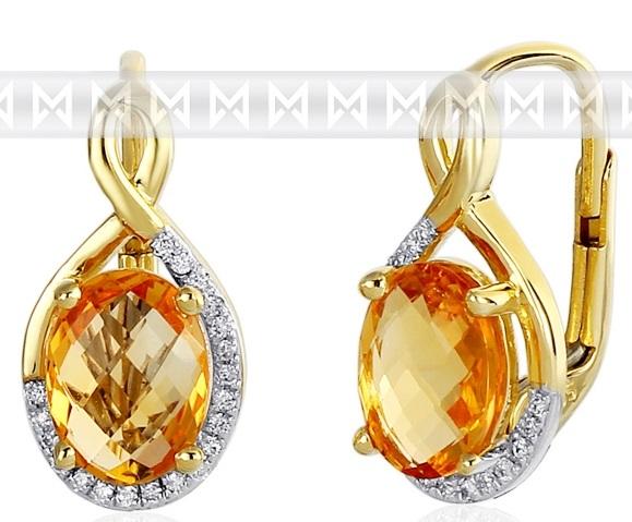 Luxusní zlaté diamantové náušnice poseté diamanty a pravými citríny 3831059 ( 3831059-5-0-80)