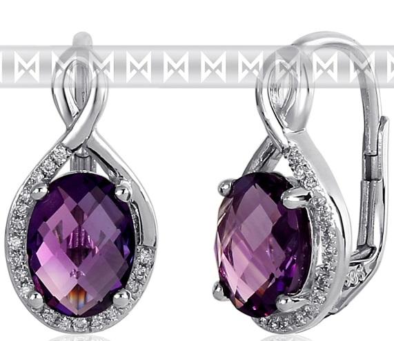 Luxusní zlaté diamantové náušnice s diamanty, pravými fialovými ametysty 3881057 (3881057-0-0-95)