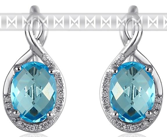 Luxusní zlaté diamantové náušnice s diamanty, pravými modrými topazy 3881054
