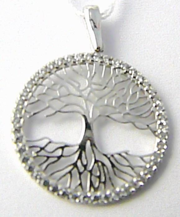 Zlatý přívěsek v bílém zlatě posetý zirkony - strom života 585/1,45gr H547