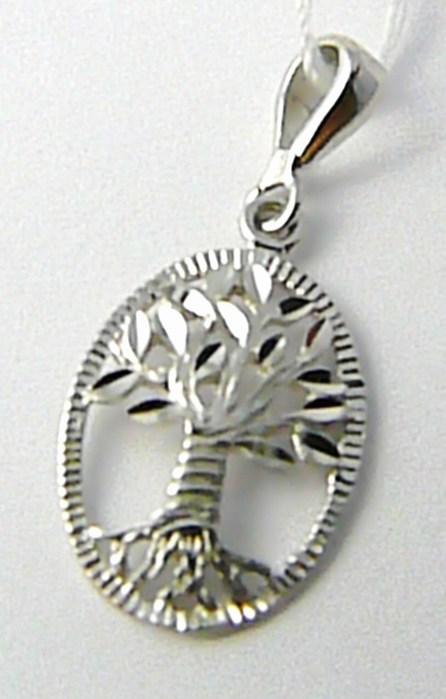 Zlatý přívěsek v bílém zlatě - strom života 585/1,07gr H548