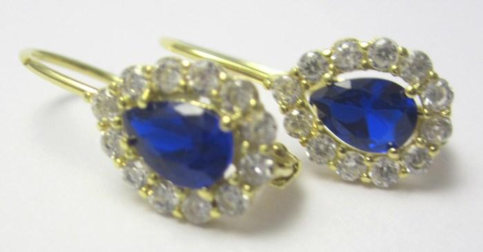 Dámské luxusní náušnice se zirkony a modrými safíry 1,90 gr P665