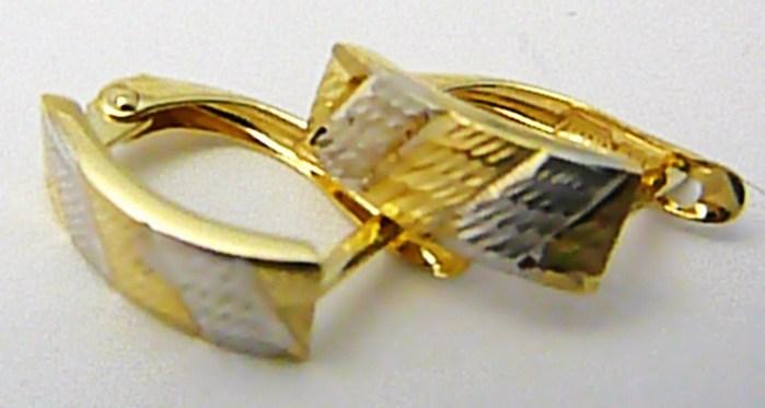 Mohutné zlaté náušnice z bílého a žlutého zlata s gravírováním 585/1,27gr P495 (1131800)