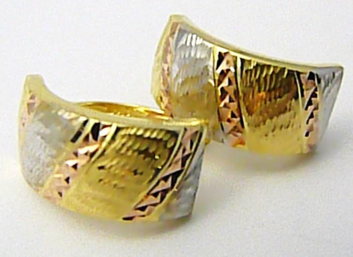 Mohutné zlaté náušnice z trojího zlata s gravírováním 585/1,97gr P496