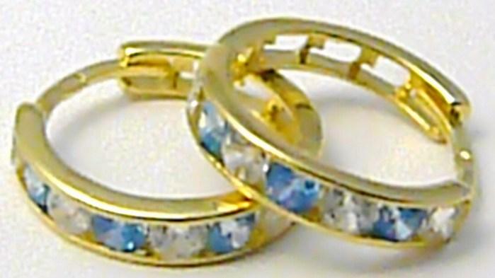 Zlaté kruhy - zlaté náušnice s akvamaríny pr. 13 mm 585/1,37 gr P501