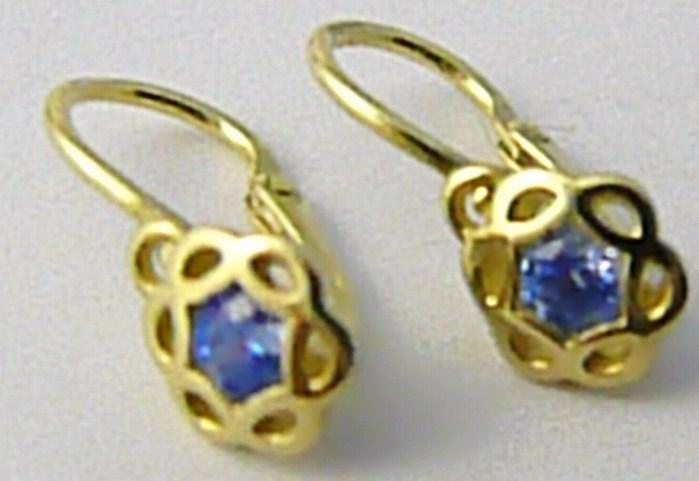 Dětské zlaté náušnice s modrými akvamaríny ze žlutého zlata 585/1,0gr 4030017
