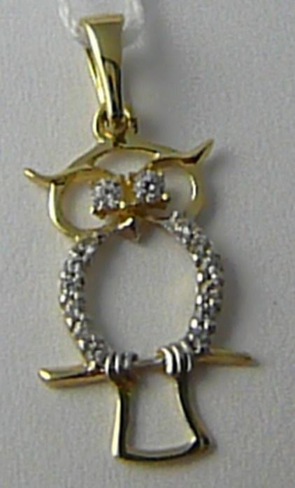 Zlatý velký přívěsek se zirkony - zlatá sovička 14 ks zirkony 585/0,62 gr H554