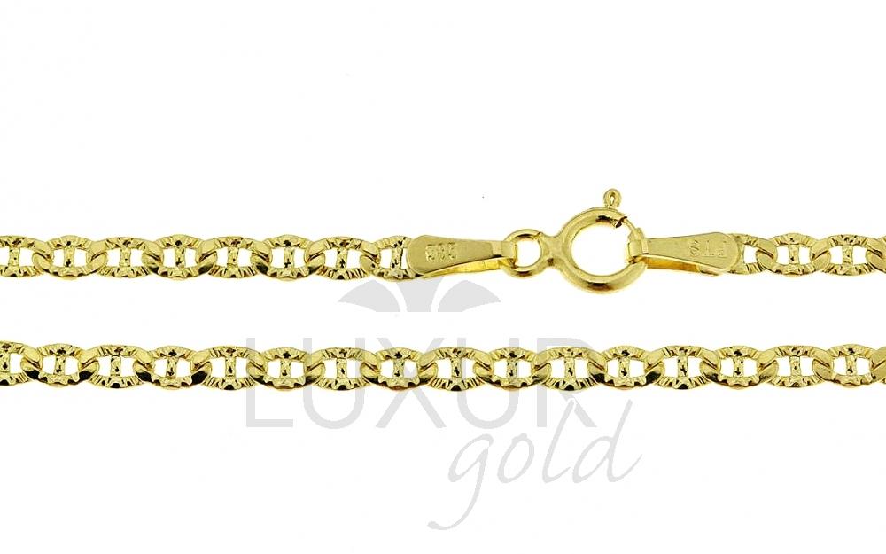 Pánský/dámský mohutný zlatý řetízek (řetěz) s gravírováním 50cm 585/2,95gr P524