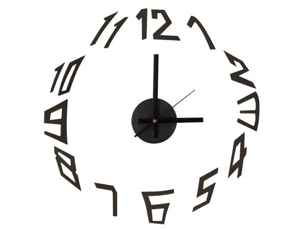 Černé nástěnné levné nalepovací hodiny hodiny WCS5 na zeď (5501-7745)
