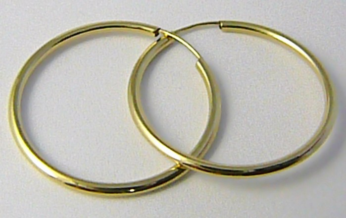 Dámské velké zlaté kruhy 26mm/2,6cm 585/0,83gr H573
