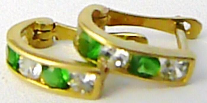 Dívčí zlaté čtvrtkroužky se zelenými smaragdy 585/0,8 gr H592