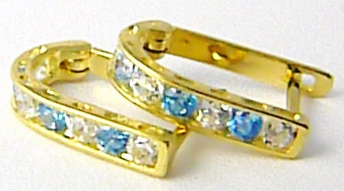 Náušnice půlkroužky ze žlutého zlata se zirkony a modrými topazy 585/1,45gr P539