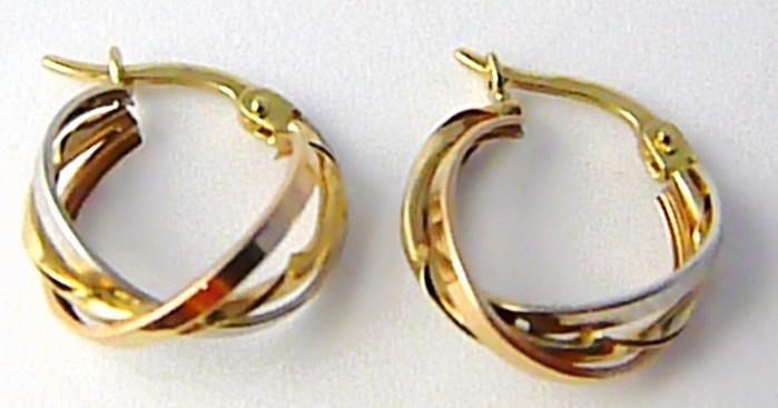 Mohutné velké zlaté kruhy z trojího zlata 585/1,38gr H596