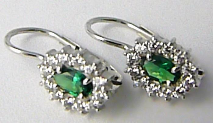 Náušnice z bílého zlata se zelenými smaragdy bílé zlato 585/2,07gr 336040977