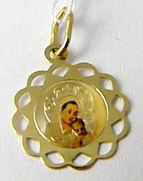 Zlatý přívěsek - gravírovaný - zlatá madonka smaltovaná 585/0,57gr H601
