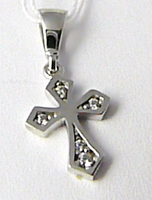 Zlatý křížek z bílého zlata se zirkony 7 ks bílé zlato 585/0,67 gr H604